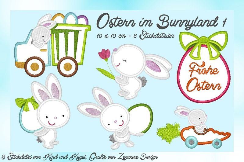 Stickdateien Ostern im Bunnyland 10x10 (8 Dateien) von kindundkegel-shop auf DaWanda.com