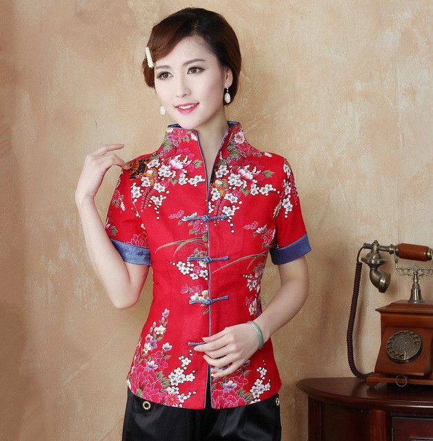 79e26b02557258 Hot Sale Red Traditional Chinese Blouse Women Cotton Linen Shirt Top V-Neck  Short Sleeves Clothing Size M L XL XXL XXXL Mnz03B