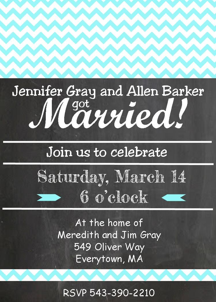 Chalkboard Chevron Teal Elopement Party Invitations