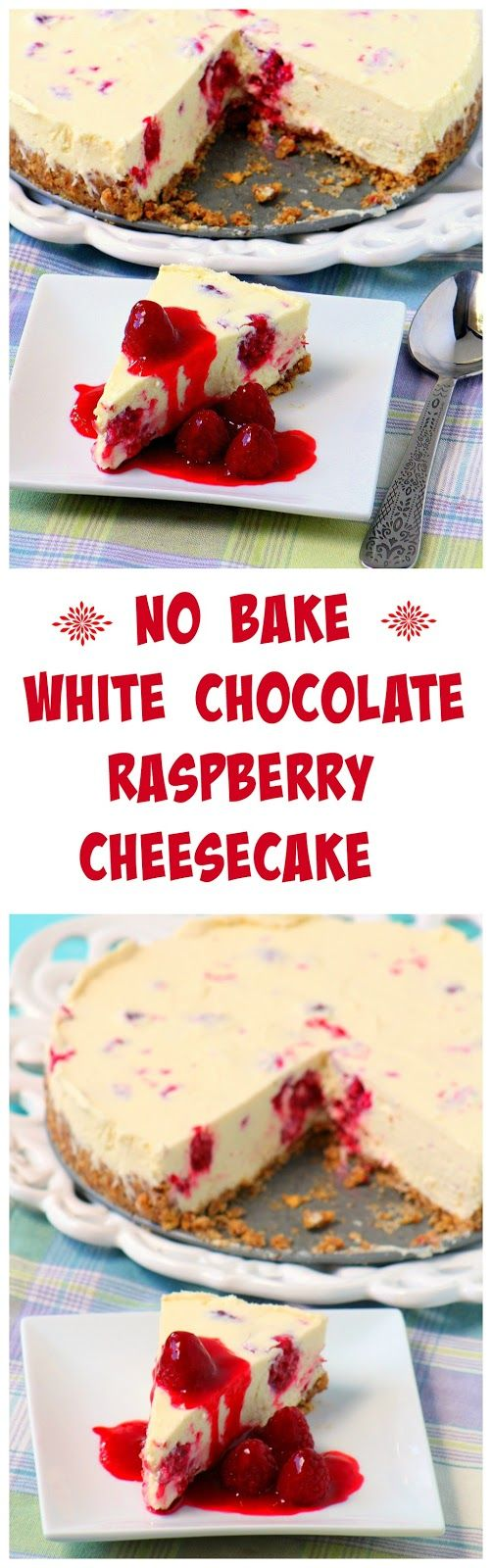 This luscious NO BAKE White Chocolate Raspberry Cheesecake is the ultimate summer dessert. Fresh and sweet-tangy raspberry coulis perfectly complements the rich and creamy cheesecake.Tried and tested, super easy recipe, too! #whitechocolateraspberrycheesecake