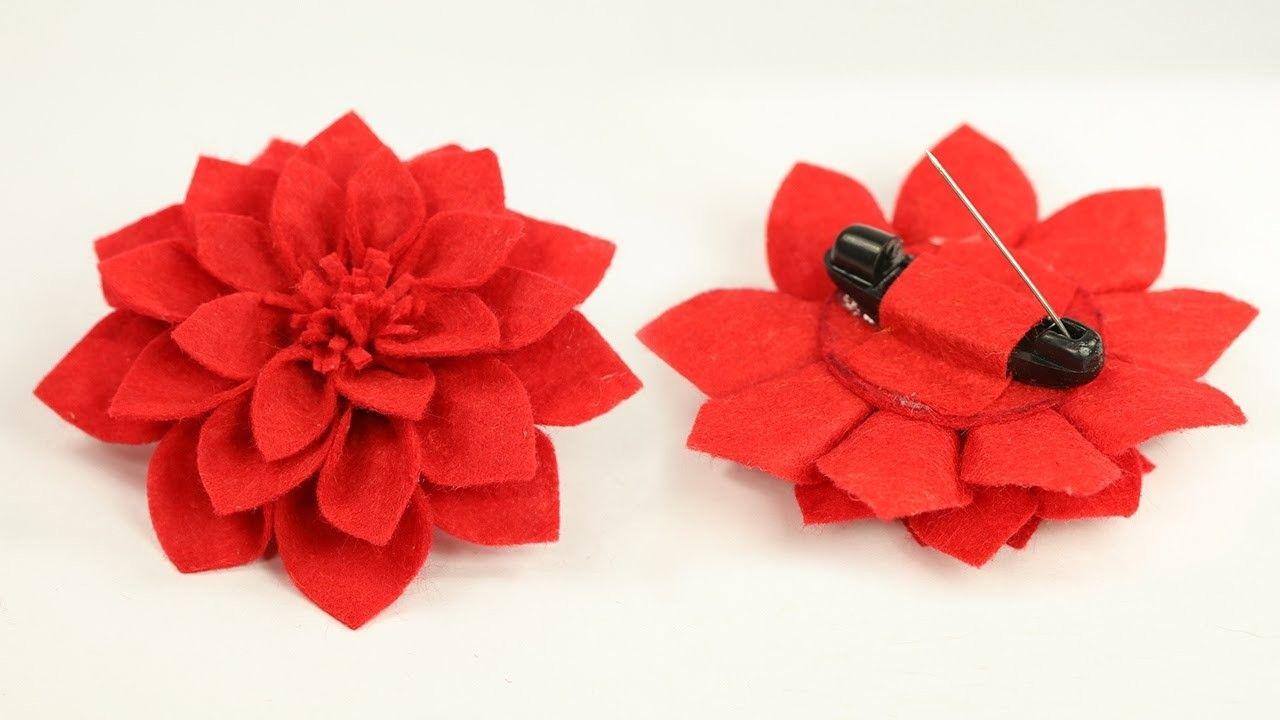Diy crafts felt flower brooch pin step by step tutorial