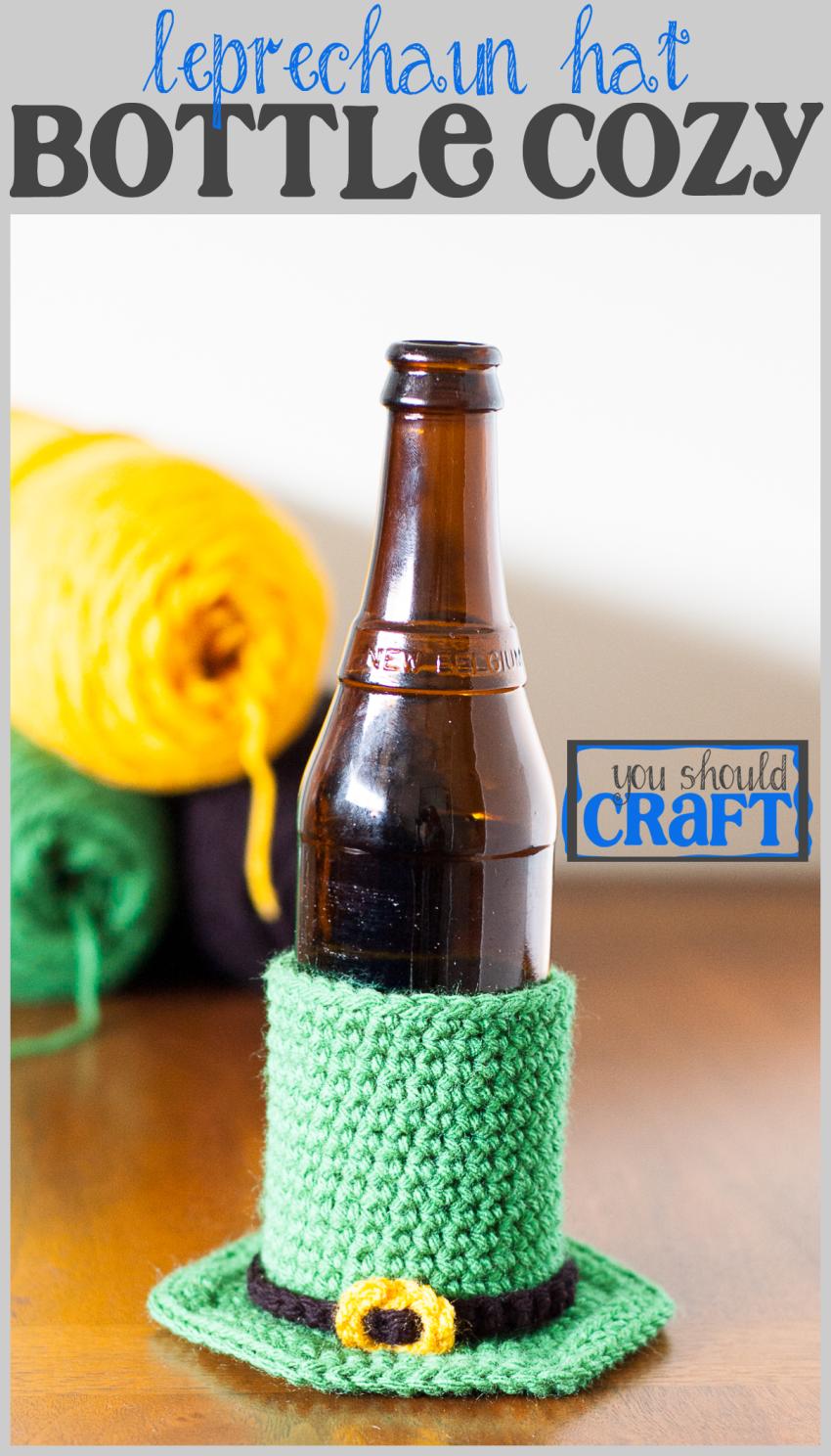 Leprechaun Hat Beer Cozy - Free Crochet Pattern   Pinterest   Free ...