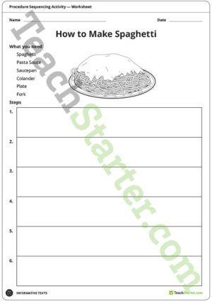 Procedure Sequencing Activity u2013 Spaghetti Procedure Writing - procedure templates