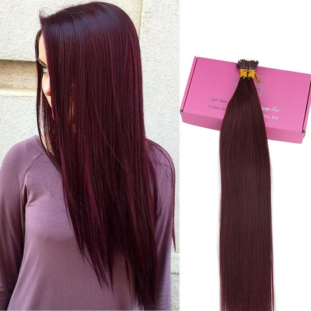 Remy I Tip Human Hair Extensions Red Wine Hair Extensions Color 99j