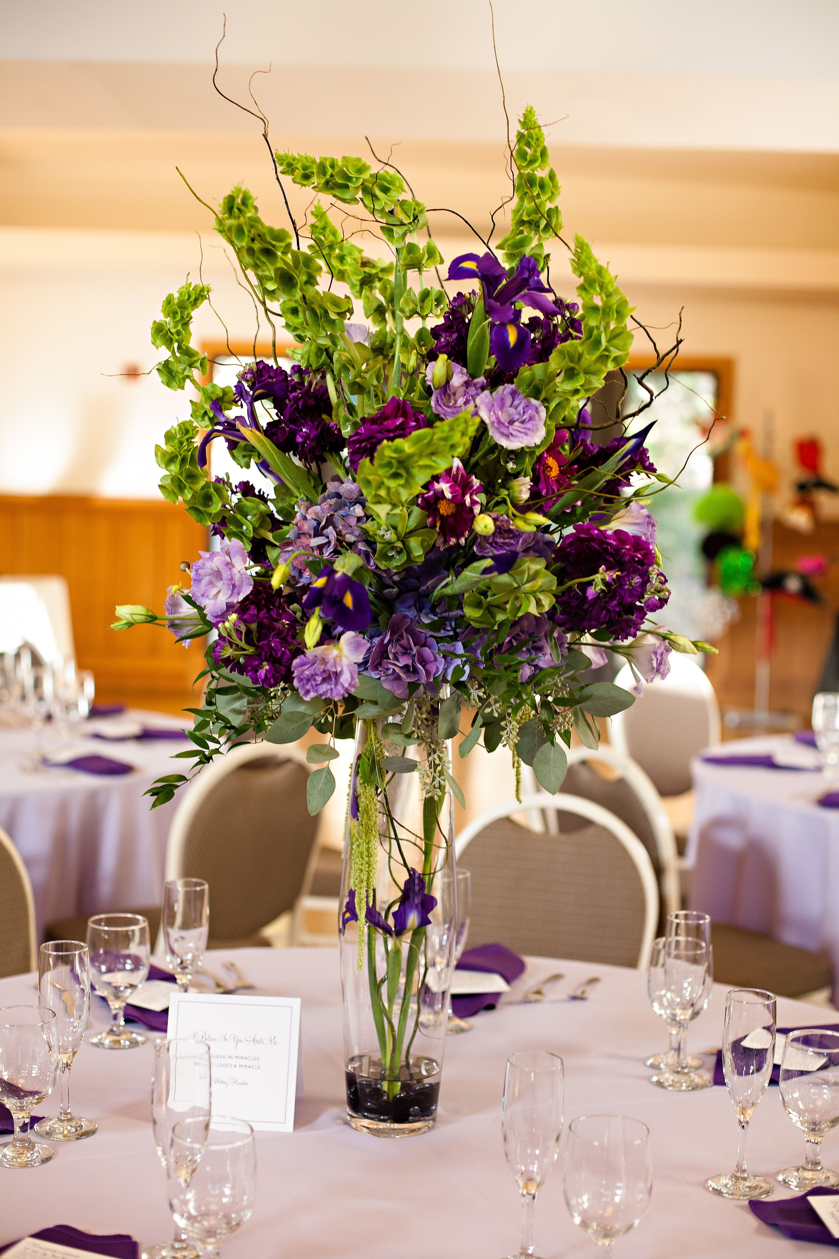 Purple and green tall centerpiece this one set in center