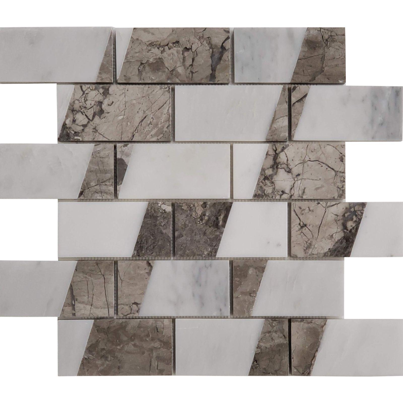 - 2 X4 Custom Design Mosaic Tile Asian Carrara Shades Of Grey