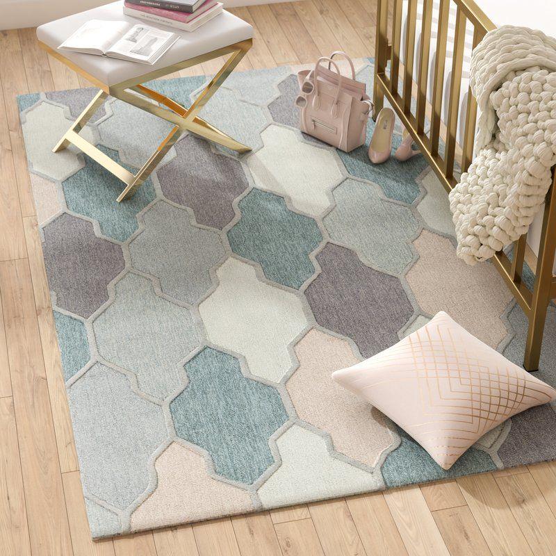 Galya Geometric Handmade Tufted Wool Medium Gray Area Rug With