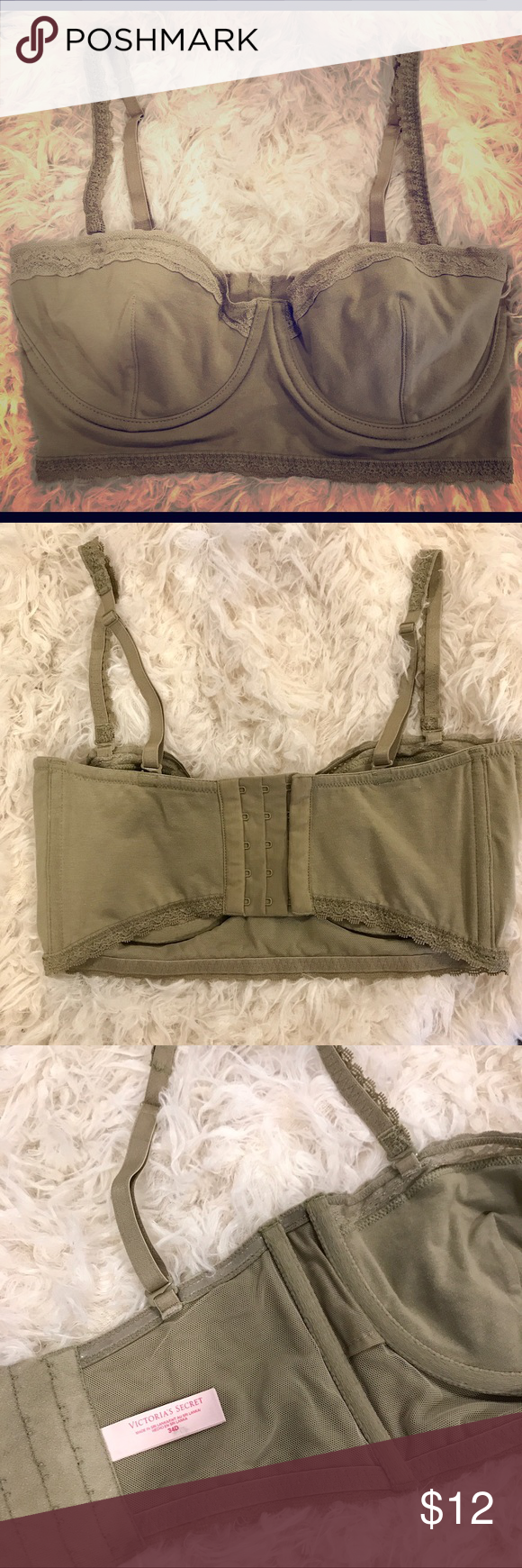 Victoria's Secret Bralette/Bandeau Olive green bralette with underwire, removable straps to make into Bandeau top with lace detail. Never worn- NWOT! Victoria's Secret Intimates & Sleepwear Bandeaus