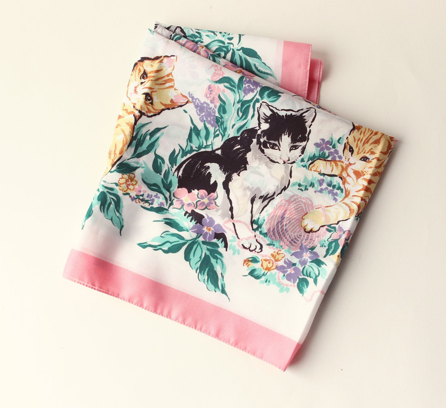 VINTAGE SCARF cat scarf, kittens playing 1980s, AVON