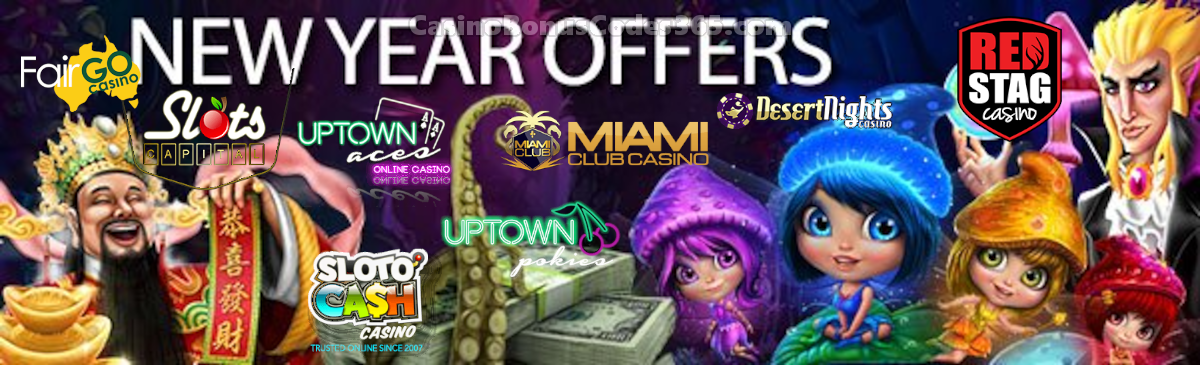 SlotoCash Casino, Uptown Aces, Uptown Pokies, Fair Go Casino, Slots Capital Online Casino, Desert Nights Casino, Miami Club Casino and Red Stag Casino 173 FREE Spins New Year Offer