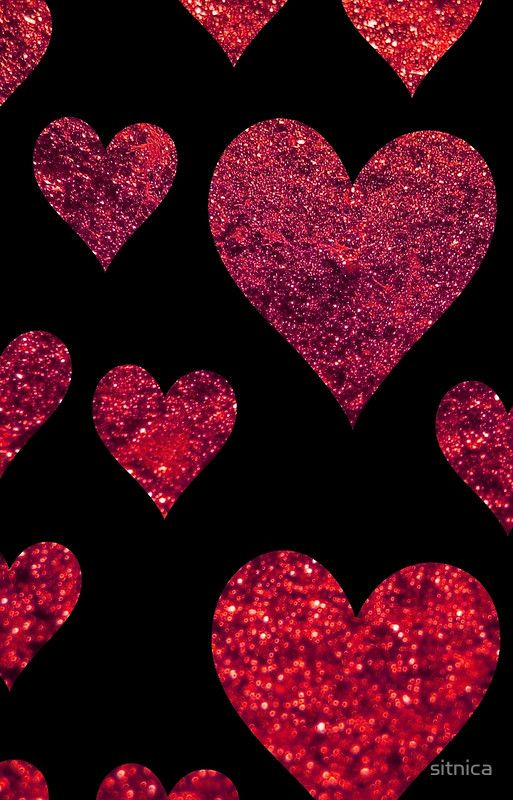 Love Romance Hearts Glitter Black Red By Sitnica Heart Wallpaper Glitter Wallpaper Valentines Wallpaper