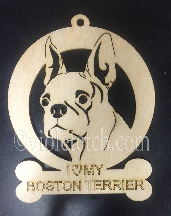 Do you belong to a Boston Terrier or know a Boston Terrier lover/owner?  Our personalized Boston Terrier ornament makes a perfect gift, gift topper or