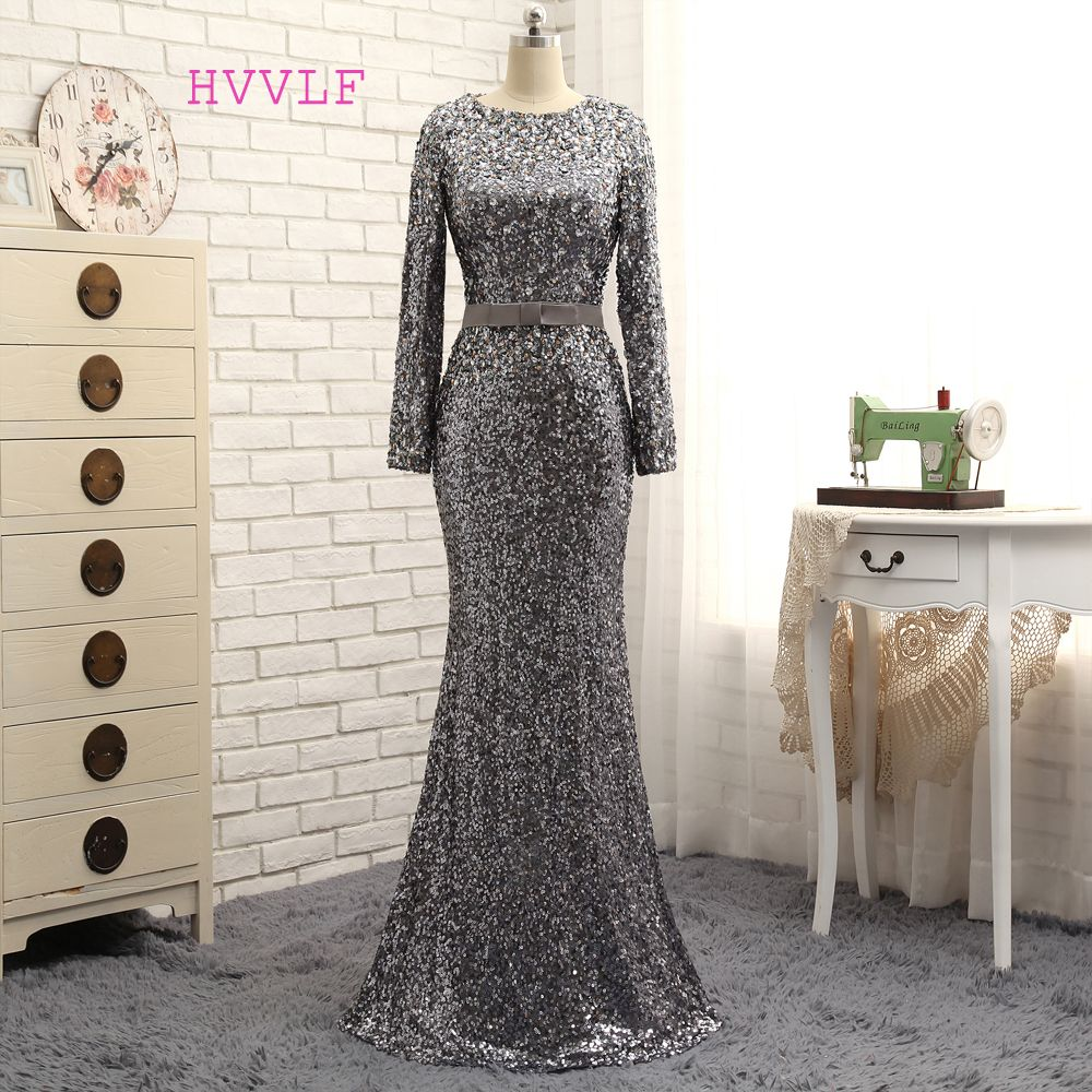 Hvvlf gris robes de soirée sirène manches longues sequiens