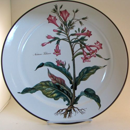 """This beautiful round chop plate or serving platter was made by Villeroy & Boch. The pattern name is Botanica and features a white background with Nicotiana Tabacum flowers on it with roots.  The plate measures approximately 12-1/2"""". This plate is in good condition without chips, cracks or crazing. $79.95"""