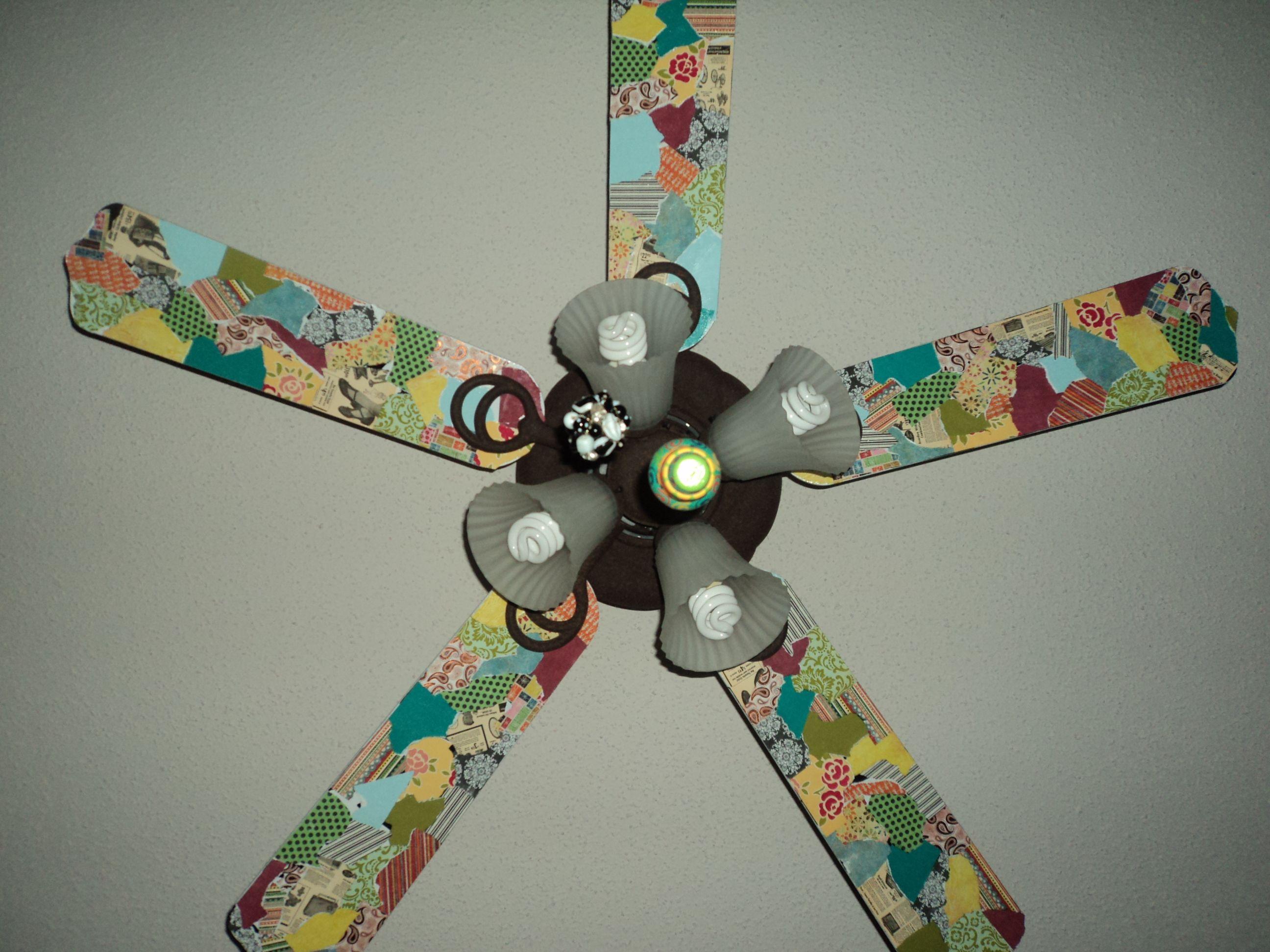 Paper Ceiling Fan : Scrapbook paper fan blades cute idea you know everybody