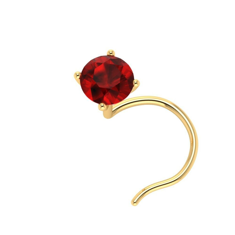 3 00 Mm Solitaire Red Ruby 14k Yellow Gold Nose Piercing Screw