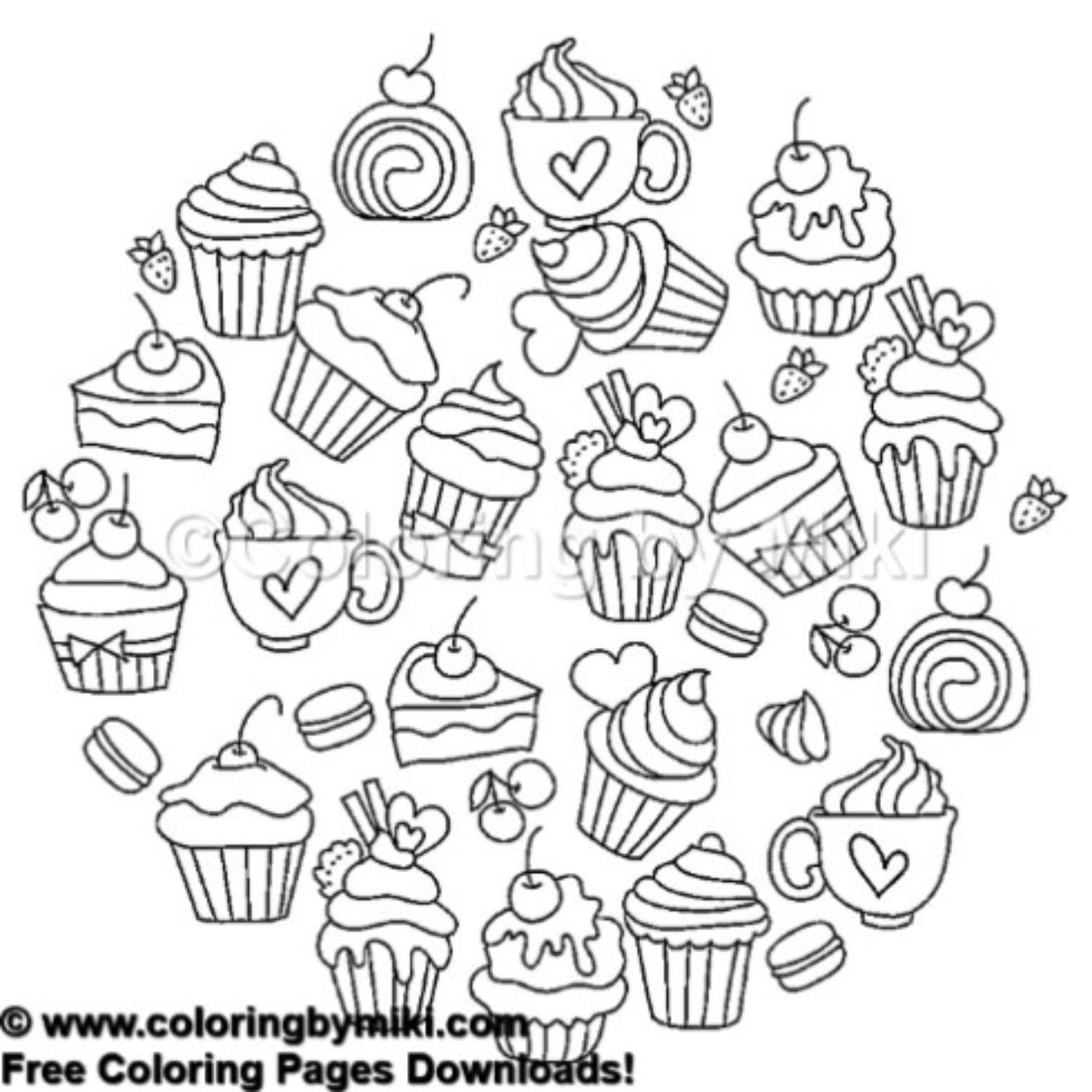 Cakes Coloring Page 474 Freeprintable Coloring Coloringforadults