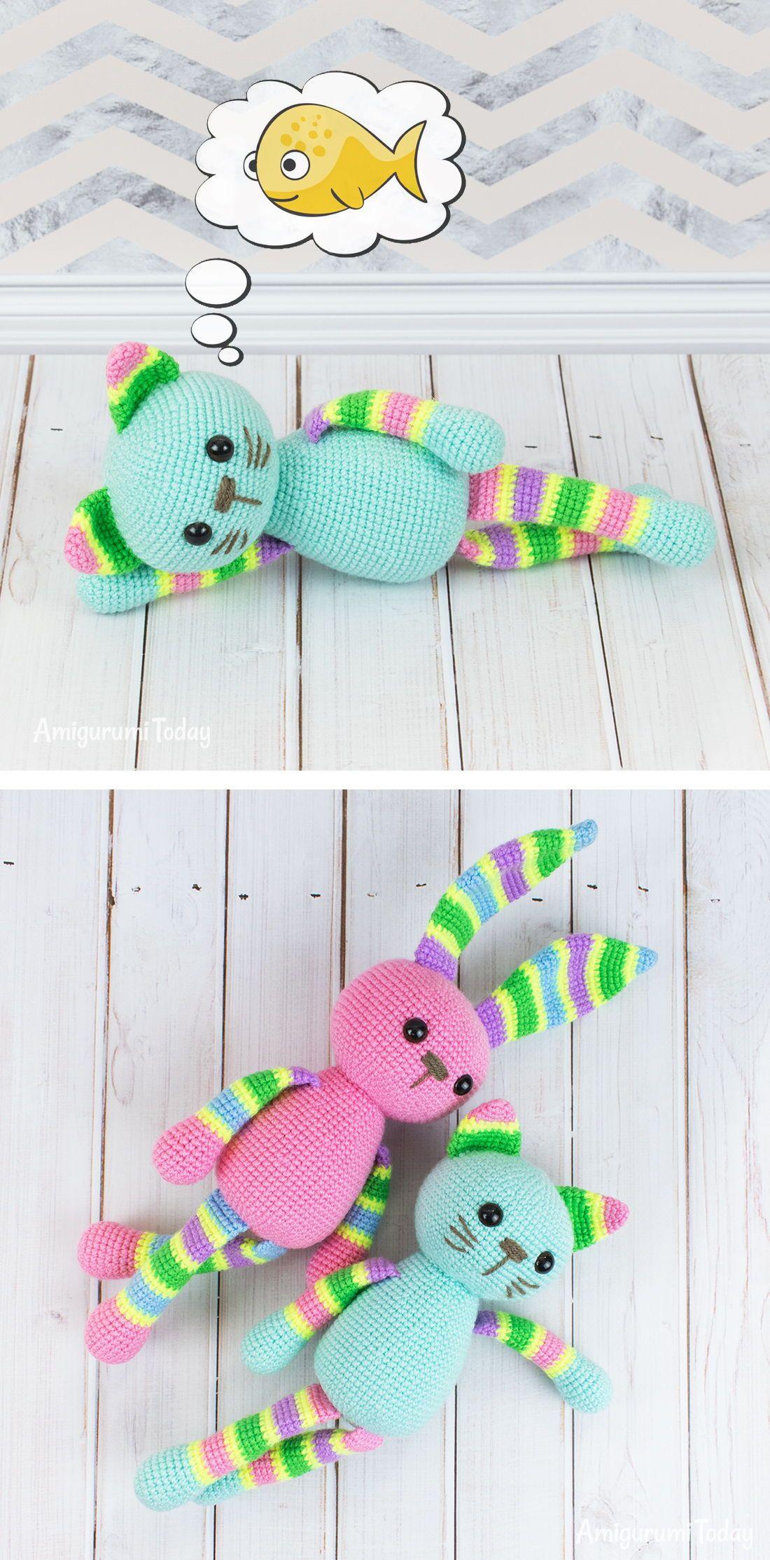Stripy cat amigurumi pattern | Pinterest | Patrón de ganchillo ...