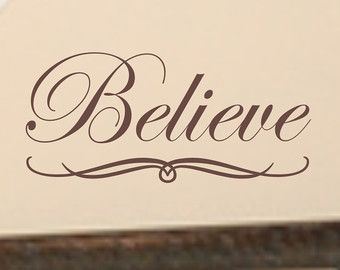Happy Birthday Typography Cursive ~ Believe a inspirational wall quote decal vinyl wall words letter