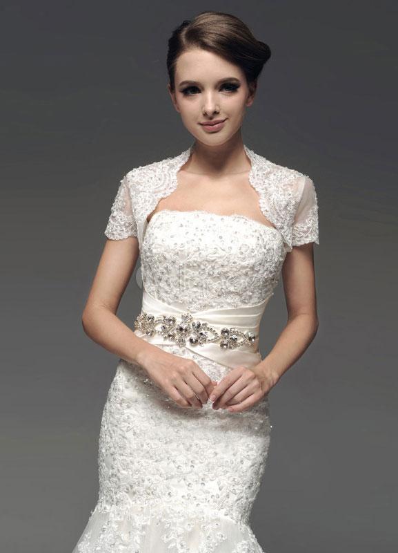 Ivory Lace Short Cap Sleeves Tulle Bridal Wedding Wraps Milanoo
