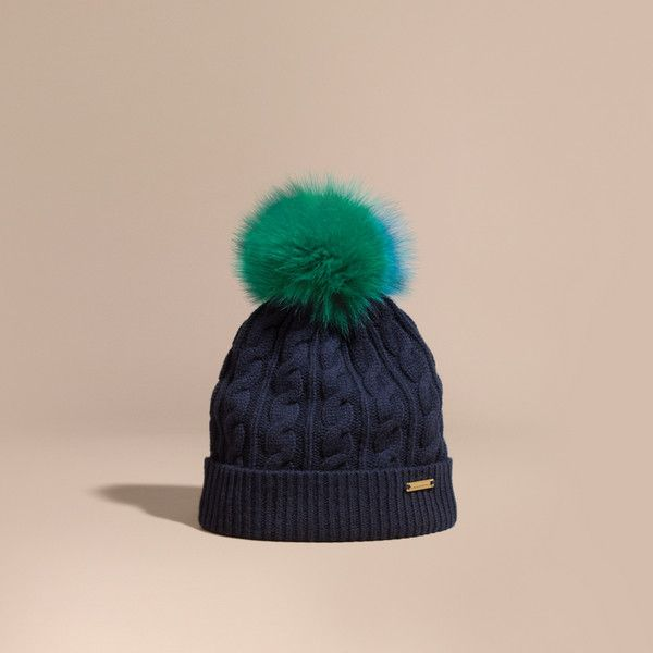 5266d465002 Burberry Wool Cashmere Beanie With Fur Pom-pom ( 510) ❤ liked on Polyvore  featuring accessories
