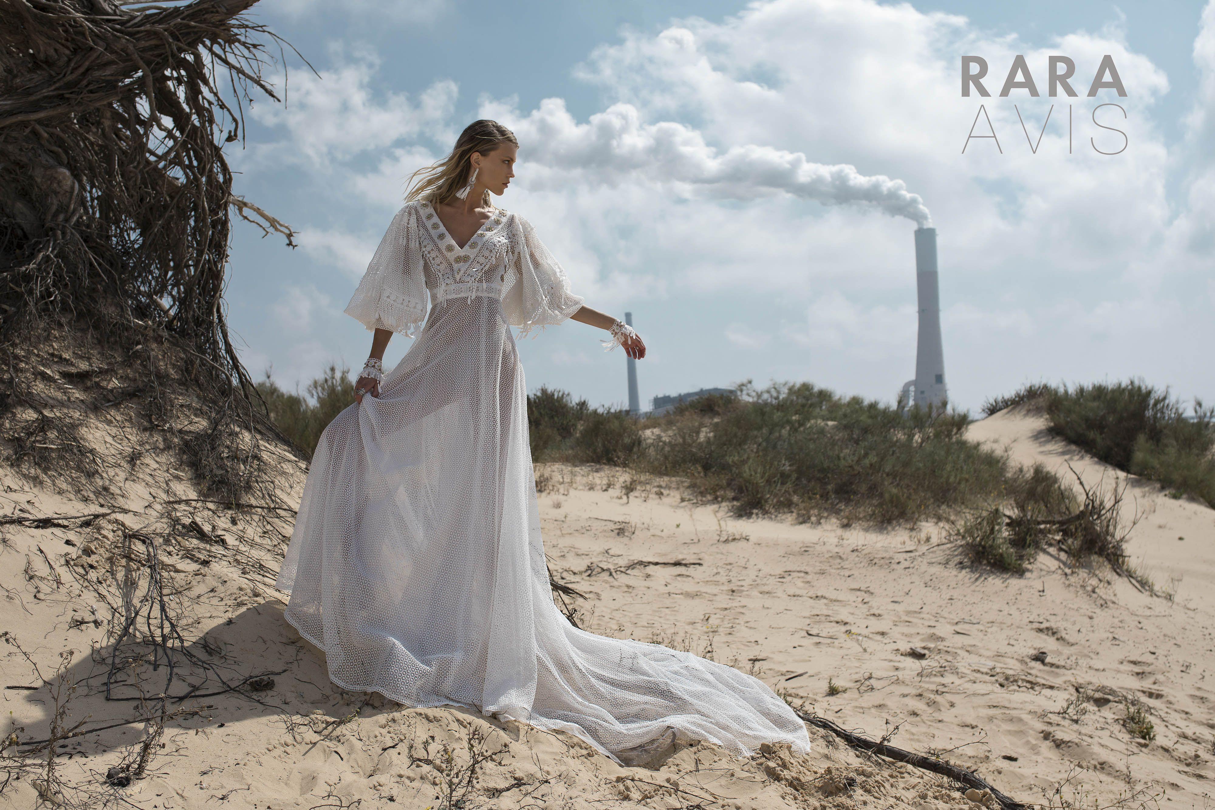 Wedding gown sadi by rara avis wild soul collection long sleeves