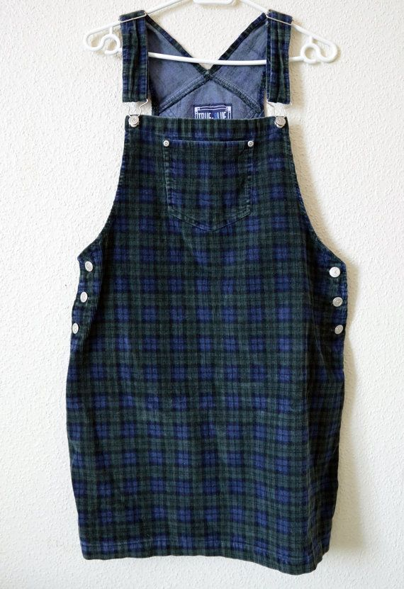 fashionable patterns best outlet store 90s Dungaree Dress Plaid Green Blue Corduroy Overalls Dress ...