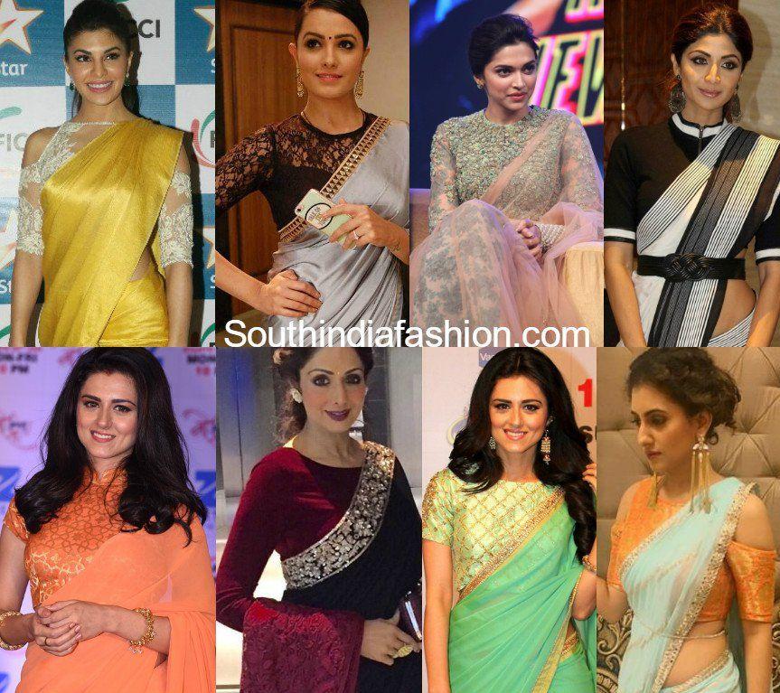 0c8e97773af908 Know about the trending Celebrity blouse designs for saree like cold  shoulder