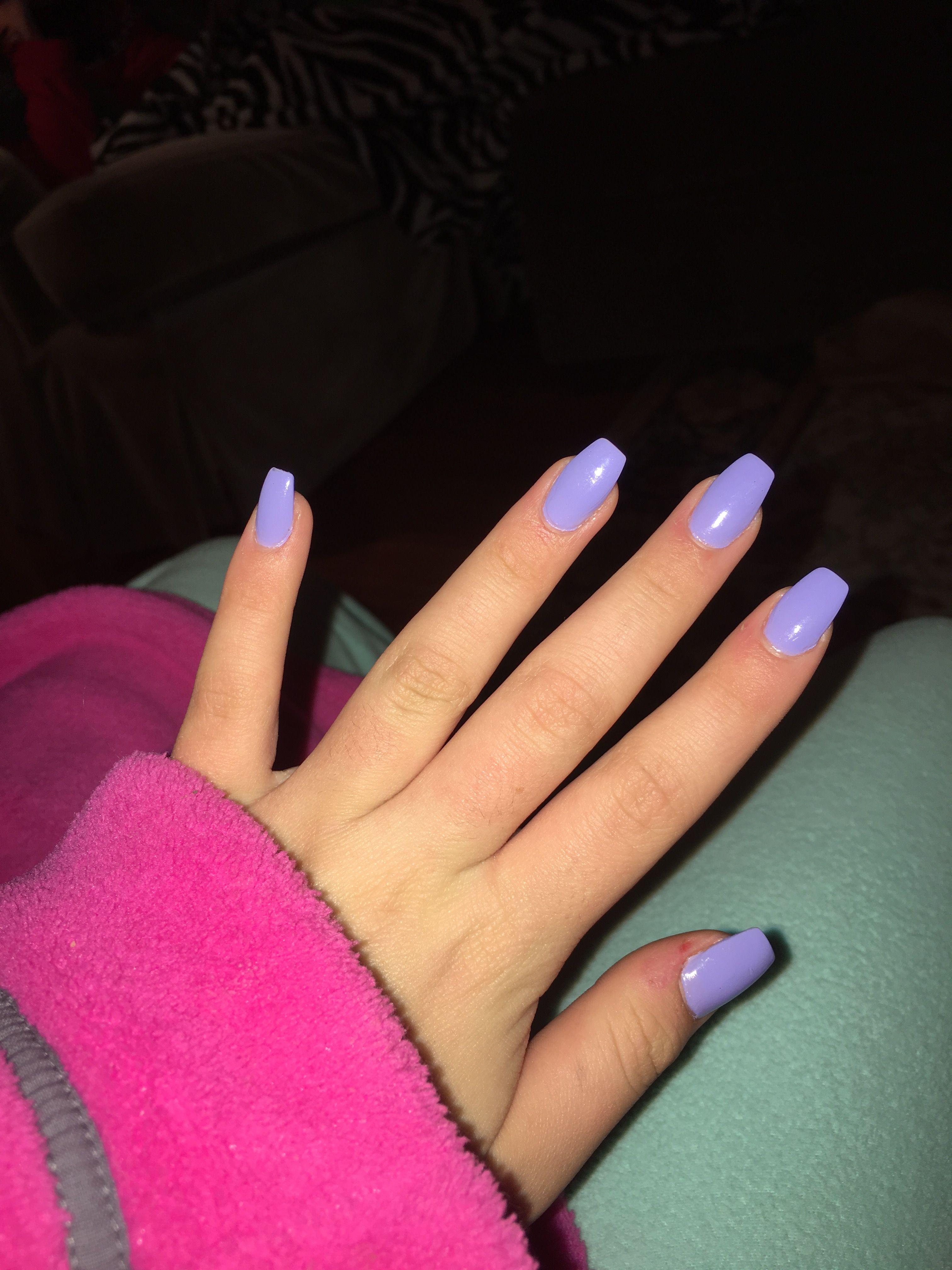 Short Lavender Coffin Nails