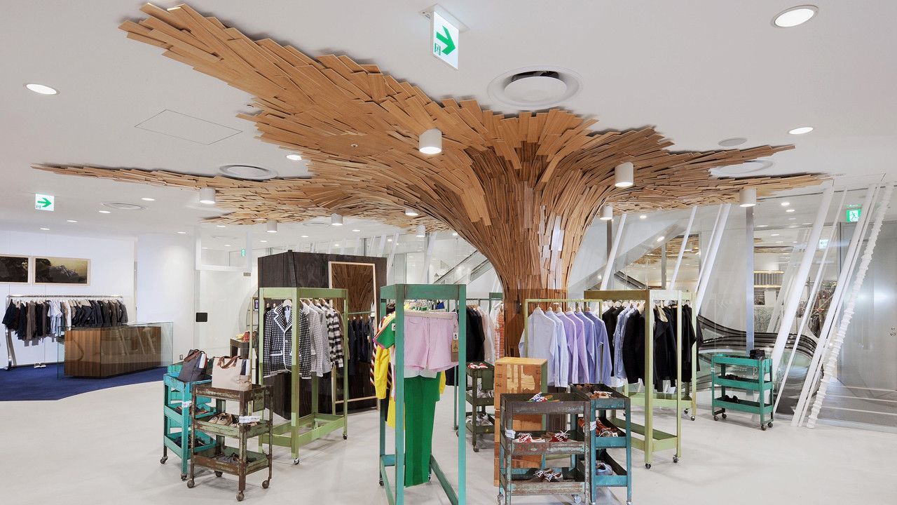"Trees Made Of 10,000 Planks ""Grow"" At Comme Des Garçons"
