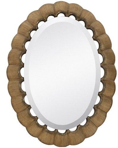 fdc16503f6e8 Majestic Mirrors Scalloped Edge Oval Mirror-Gold