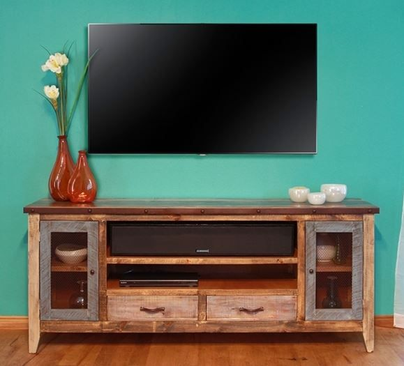 Cottage TV Cabinet, Coastal Entertainment Center, Rustic ...