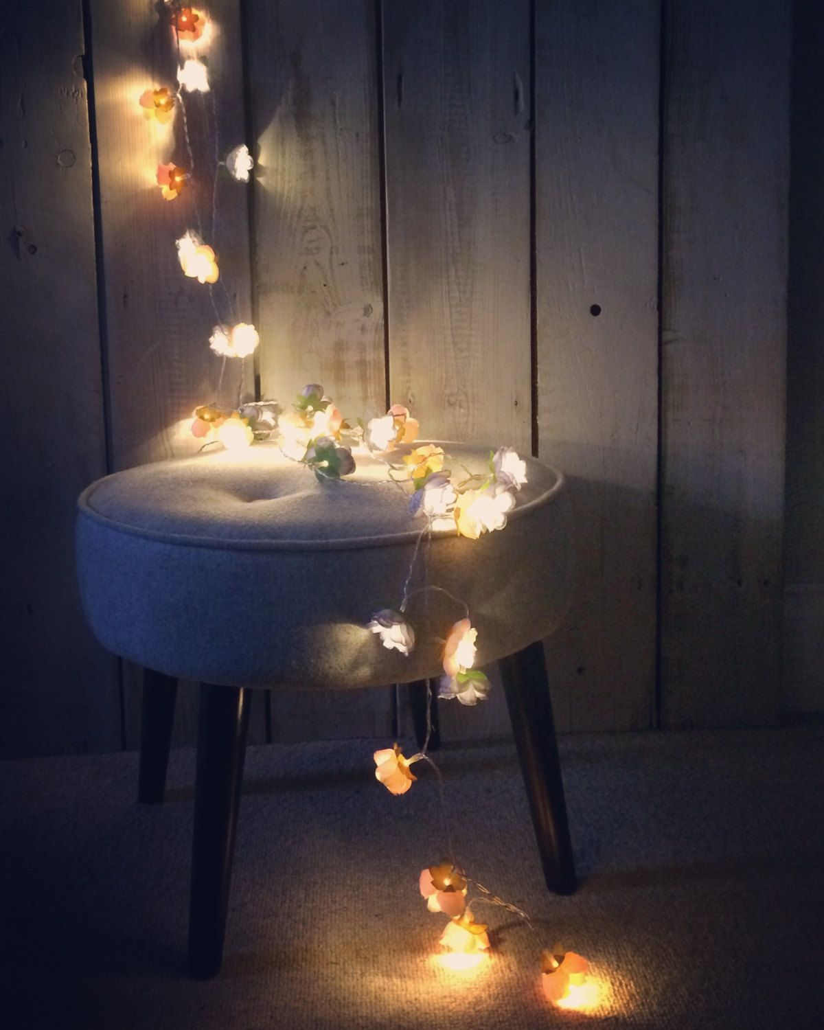 Grey Rose Flower Fairy String Warm White Led Lights Vintage Wedding Bedroom Decoration Centerpiece Birthday Gift Anniversary