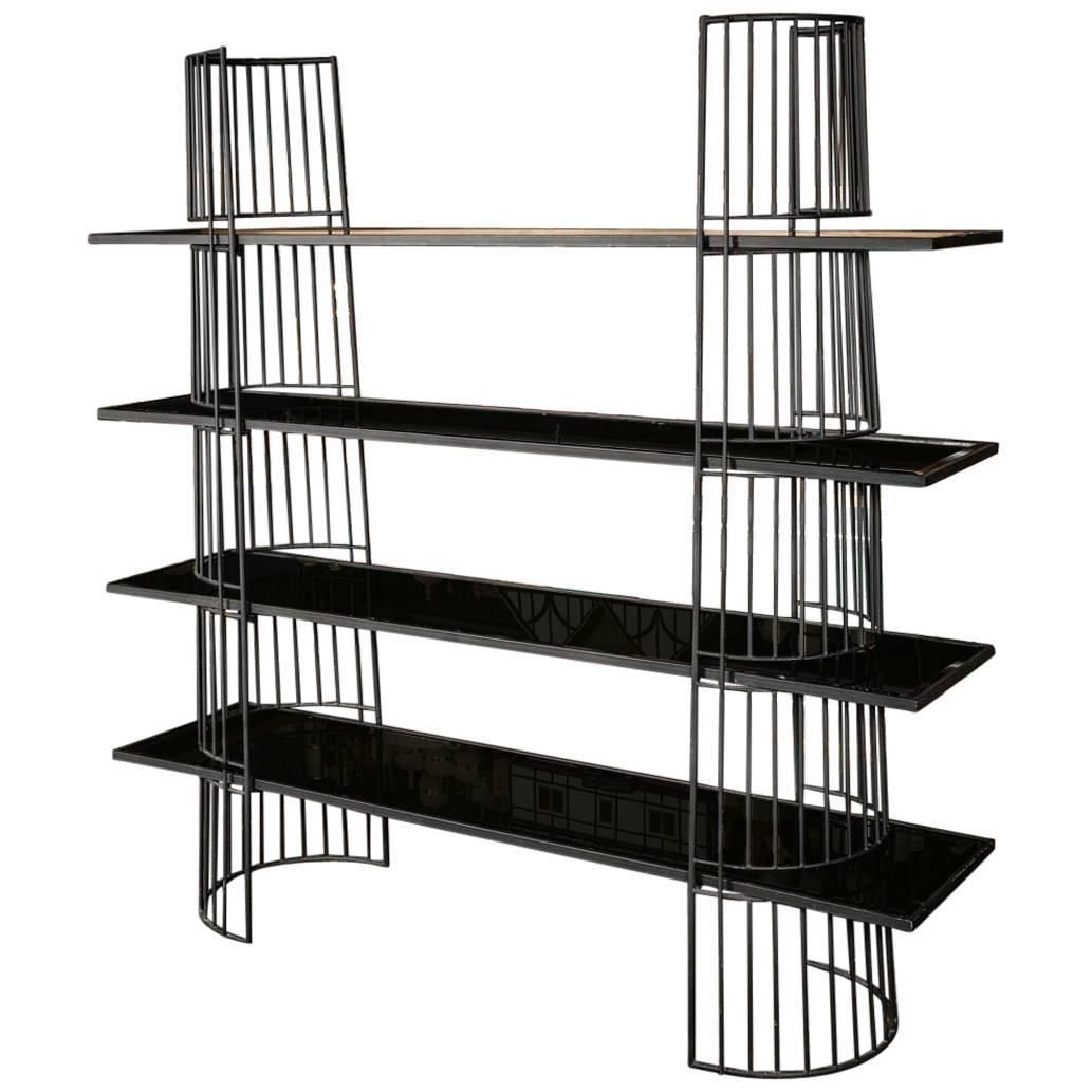Black Metal Shelving With Black Mirrored Glass 1