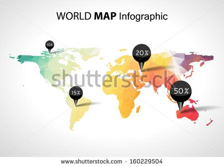 Vector abstract 3d world map pins australia asia africa usa vector abstract 3d world map pins australia asia africa usa globe world map vector concept icon gumiabroncs Choice Image
