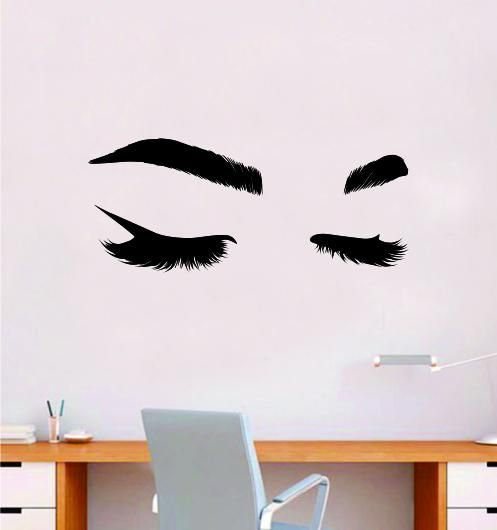Lashes and Brows V4 Wall Decal Sticker Vinyl Home Decor Bedroom Art Make Up Cosmetics Girls Eyes Eyebrows Eyelashes Vanity Beauty - red