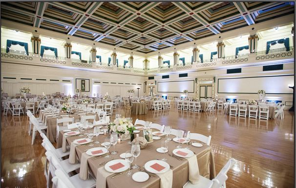 Soldiers & Sailors Memorial Hall & Museum | Wedding | Reception | Grand Ballroom | Emily & Dan | Elliott Cramer Photography | Uplighting by Gray Phoenix Design | Centerpieces by Hepatica Florist