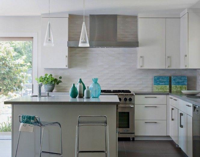 White Textured Subway Tile Backsplash Kitchen Backsplash Designs Kitchen Design Modern Small Modern Kitchen Backsplash