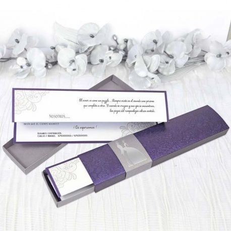 invitacin de boda original con cajita morada elegante