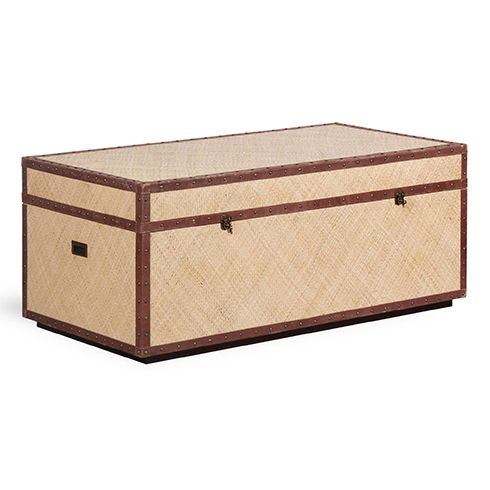 Tanzania Bed End Trunk W/ Brass Hardware Made From Solid Wood Covered In  Woven Rattan Skin, The Tanzania Trunk Features Leather Trim, Antique Brass  Fittings ...