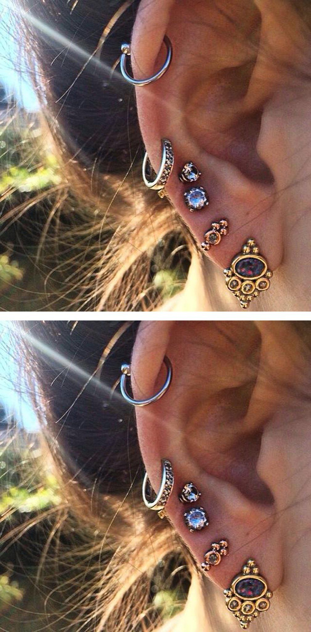 Piercing from nose to ear  Badass Multiple Ear Piercing Ideas for Cartilage Top Ear  Cute