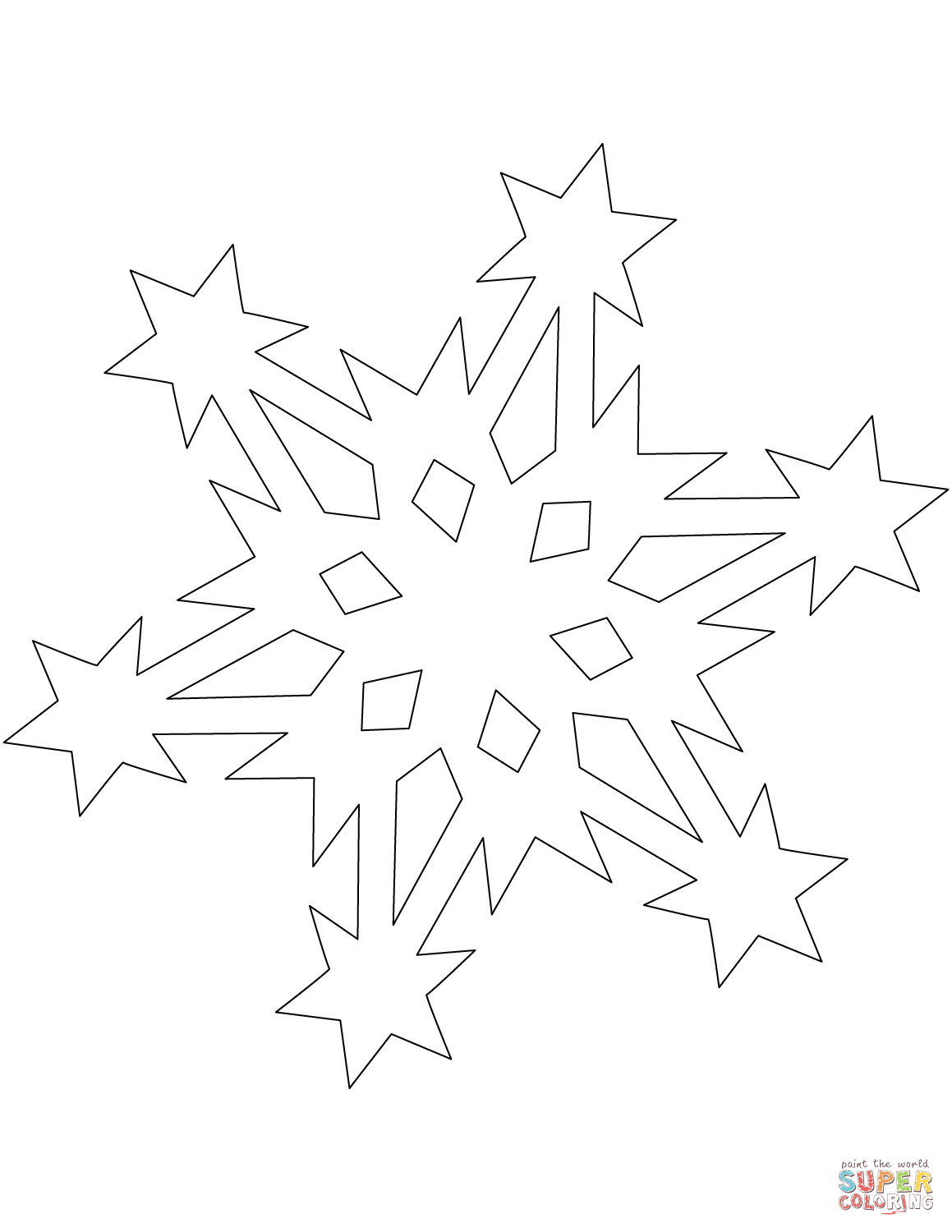 Snowflake Pattern with Stars  Super Coloring  Star coloring