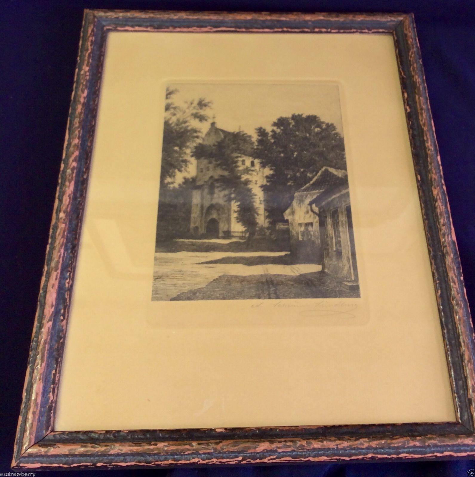 Vtg Antique Village Street Church Signed Print Framed Picture Wall