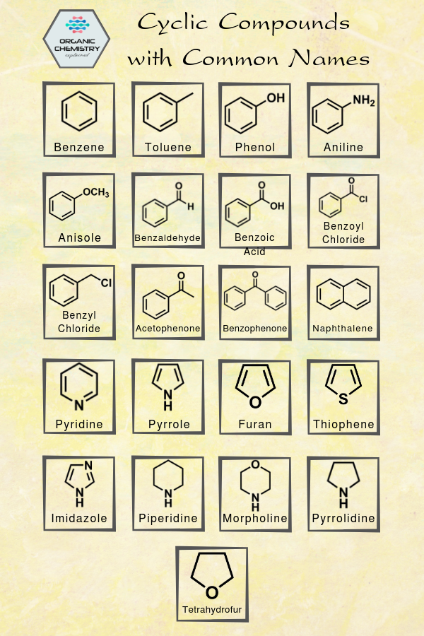Cyclic Compounds with Common Names in 2020 Organic