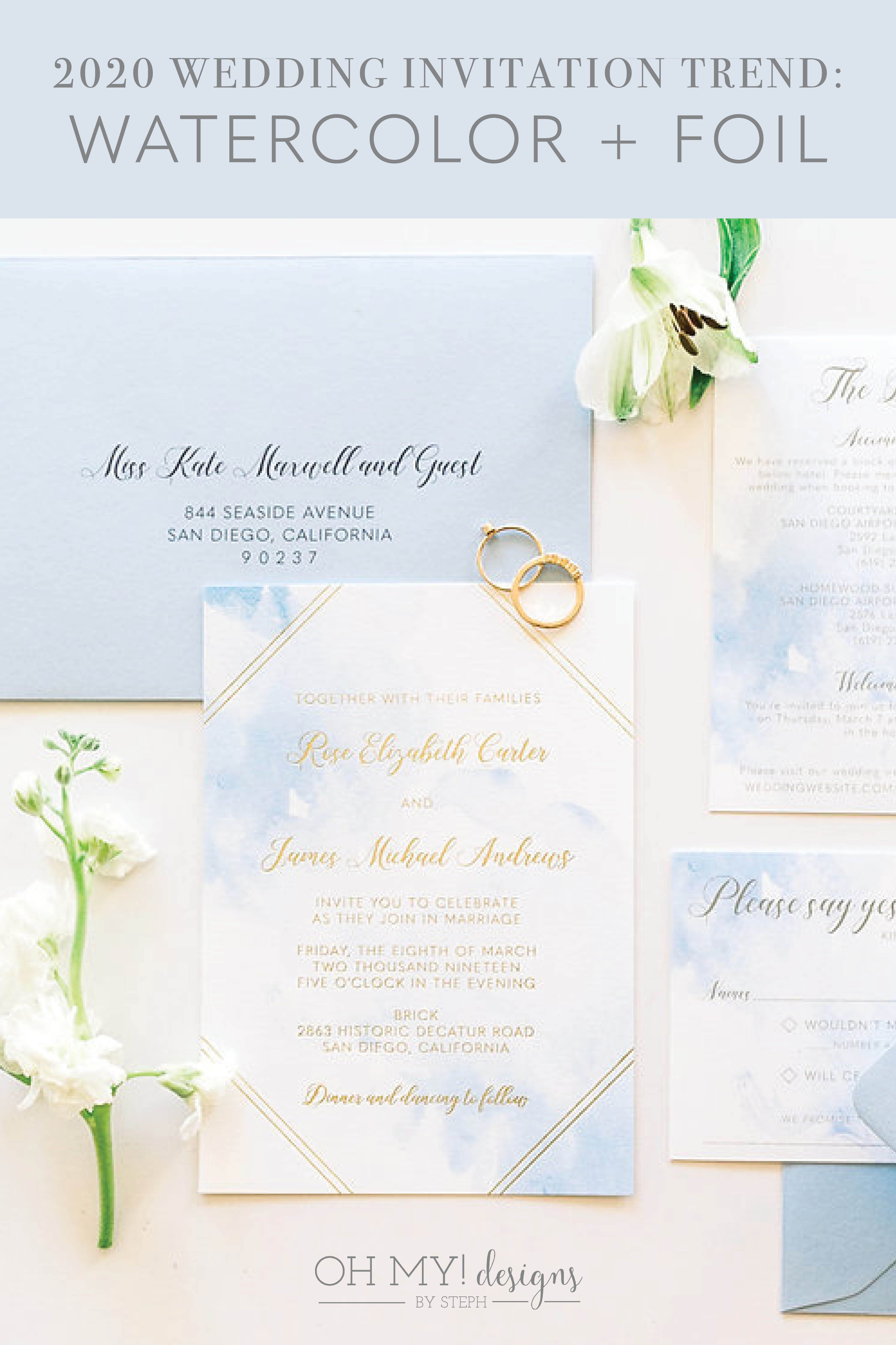 Gold Foil Watercolor Wedding Invitation Sample Oh My Designs By Steph Simple Wedding Invitations Foil Wedding Invitations Wedding Invitations