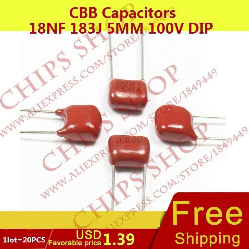 1lot 20pcs Cbb Capacitors 18nf 183j 5mm 100v Dip 18000pf 0 018uf Capacitors Chip Dip Dips