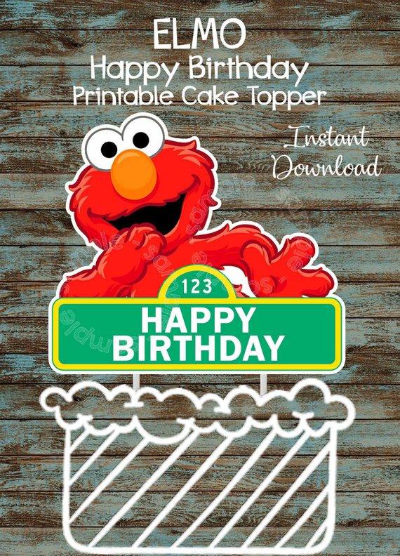 Printable Elmo Cake Topper Sesame Street Cake Topper
