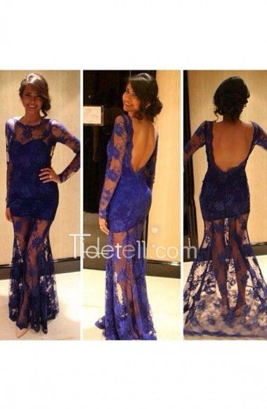 Hot Sale Mermaid Illusion Scoop Neck Lace Long Sleeve Prom ...