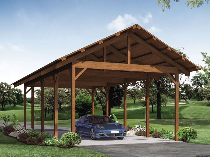 051G0120 Carport Plan Stores 4 Cars, an RV or a Boat and