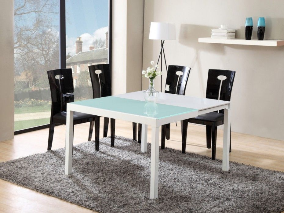 Table Extensible Corine 4 A 8 Couverts Mdf Verre